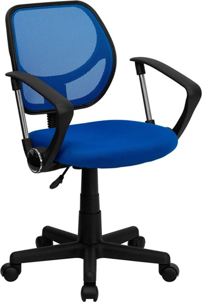 Flash Furniture Mid Back Blue Mesh Swivel Task Arm Chair FLF-WA-3074-BL-A-GG
