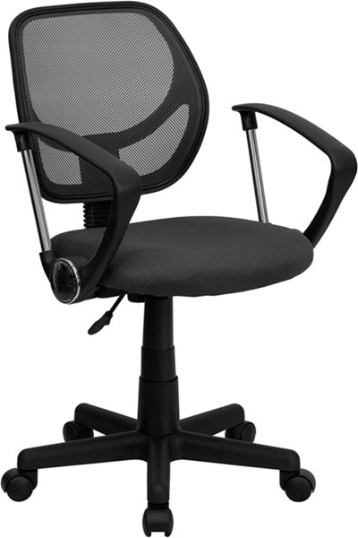 Mid-Back Gray Mesh Adjustable Height Swivel Task Arm Chair FLF-WA-3074-GY-A-GG