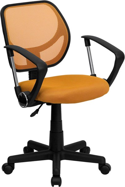 Flash Furniture Mid Back Orange Mesh Swivel Task Arm Chair FLF-WA-3074-OR-A-GG