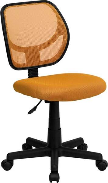 Mid-Back Orange Mesh Adjustable Height Swivel Task Chair FLF-WA-3074-OR-GG