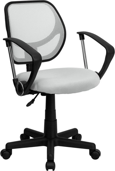 Mid-Back White Mesh Adjustable Height Swivel Task Arm Chair FLF-WA-3074-WHT-A-GG