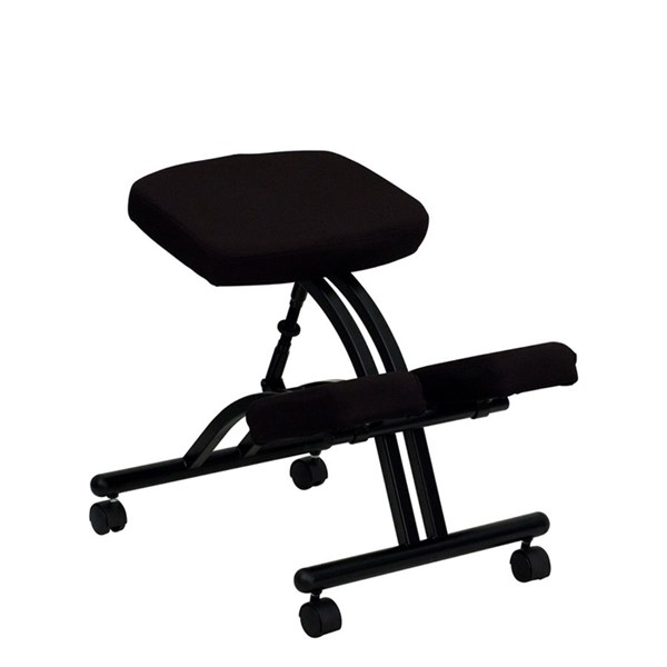 Mobile Ergonomic Kneeling Chair in Black Fabric FLF-WL-1420-GG