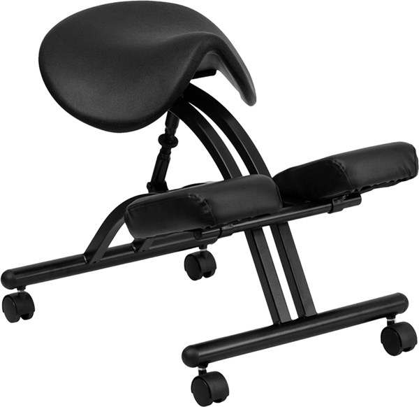 Ergonomic Kneeling Chair w/Black Saddle Seat FLF-WL-1421-GG