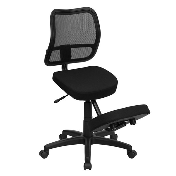 Flash Furniture Black Curved Mesh Back Mobile Ergonomic Kneeling Task Chair FLF-WL-3425-GG