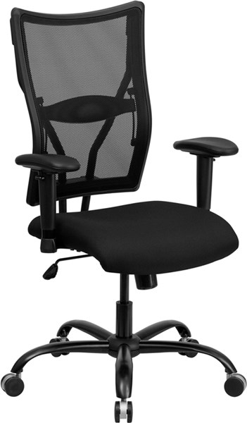 Big & Tall Black Mesh Office Chair w/Arms FLF-WL-5029SYG-A-GG