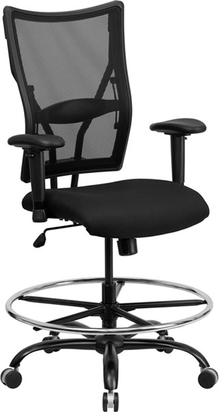 Flash Furniture Hercules Big and Tall Black Mesh Drafting Adjustable Height Arm Chair FLF-WL-5029SYG-AD-GG