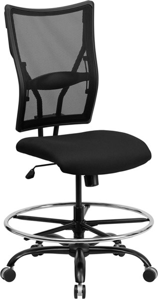 Flash Furniture Hercules Black Fabric Metal Big and Tall Mesh Drafting Stool FLF-WL-5029SYG-D-GG
