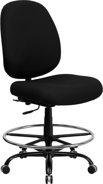 Flash Furniture Hercules Black Fabric Metal Drafting Stool FLF-WL-715MG-BK-D-GG