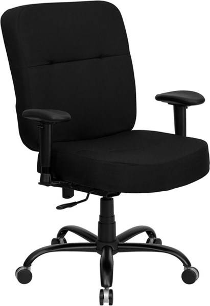 Big & Tall Black Chrome Fabric Office Chair W/Arms & Extra Wide Seat FLF-WL-735SYG-BK-A-GG