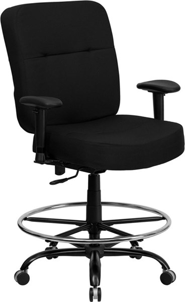 Flash Furniture Hercules Black Chrome Fabric Drafting Stool with Arm FLF-WL-735SYG-BK-AD-GG