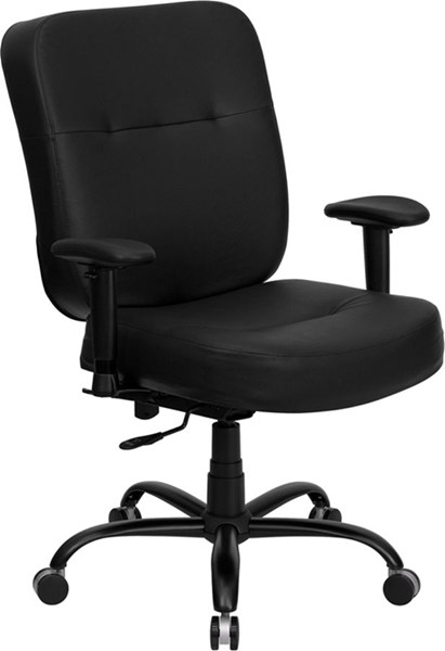 Big & Tall Black Leather Office Chairs & Extra WIDE Seat FLF-WL-735SYG-BK-LEA-A-GG-VAR