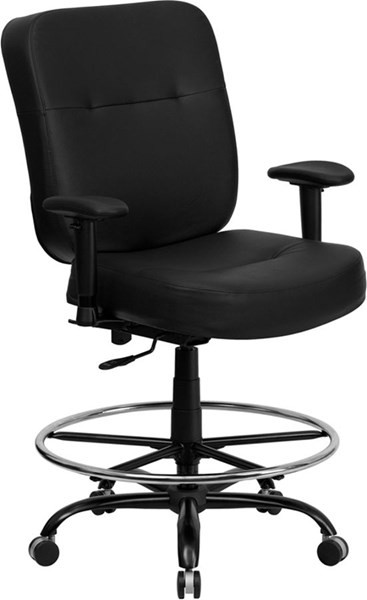 Flash Furniture Hercules Big and Tall Black Leather Drafting Stool with Arms and Extra Wide Seat FLF-WL-735SYG-BK-LEA-AD-GG