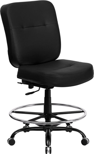 Flash Furniture Hercules Big and Tall Black Leather Drafting Stool with Extra Wide Seat FLF-WL-735SYG-BK-LEA-D-GG