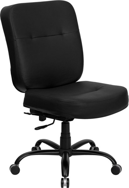 Flash Furniture Hercules Big and Tall Black Leather Office Chair with Extra Wide Seat FLF-WL-735SYG-BK-LEA-GG