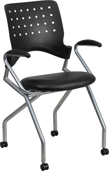 Galaxy Mobile Nesting Chair with Arms and Black Leather Seat FLF-WL-A224V-LEA-A-GG