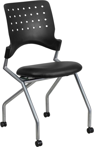 Galaxy Black Leather Metal Plastic Bonded Leather Side Chairs FLF-WL-A224V-LEA-GG-OFF-CH-VAR