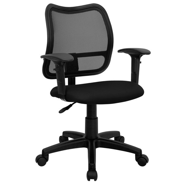 Flash Furniture Black Fabric Mesh Mid Back Task Chair with Arms FLF-WL-A277-BK-A-GG