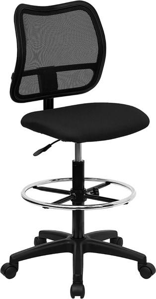 Flash Furniture Black Fabric Mesh Drafting Stool FLF-WL-A277-BK-D-GG
