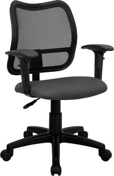 Flash Furniture Gray Fabric Mid Back Mesh Task Chair with Arms FLF-WL-A277-GY-A-GG