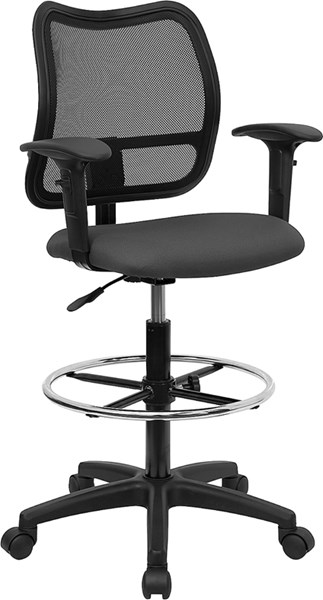 Flash Furniture Black Gray Fabric Mesh Metal Drafting Stool with Arms FLF-WL-A277-GY-AD-GG