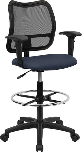 Flash Furniture Black Blue Fabric Mesh Mid Back Drafting Stools FLF-WL-A277-NVY-AD-GG-VAR