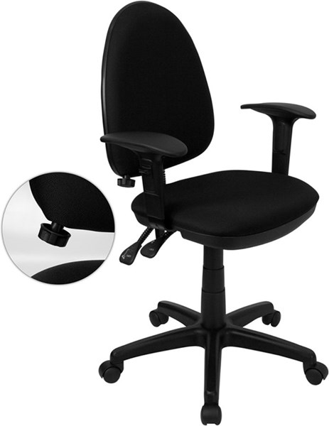 Flash Furniture Black Adjustable Lumbar Support Mid Back Task Chairs FLF-WL-A654MG-BK-A-GG-VAR