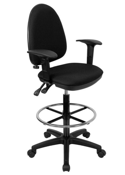 Flash Furniture Black Adjustable Lumbar Support Drafting Stool with Arms FLF-WL-A654MG-BK-AD-GG