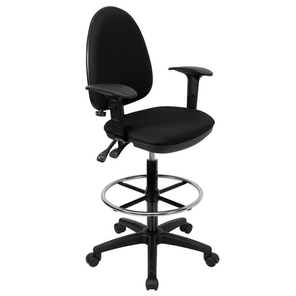 Flash Furniture Black Adjustable Lumbar Support Drafting Stools FLF-WL-A654MG-BK-AD-GG-VAR