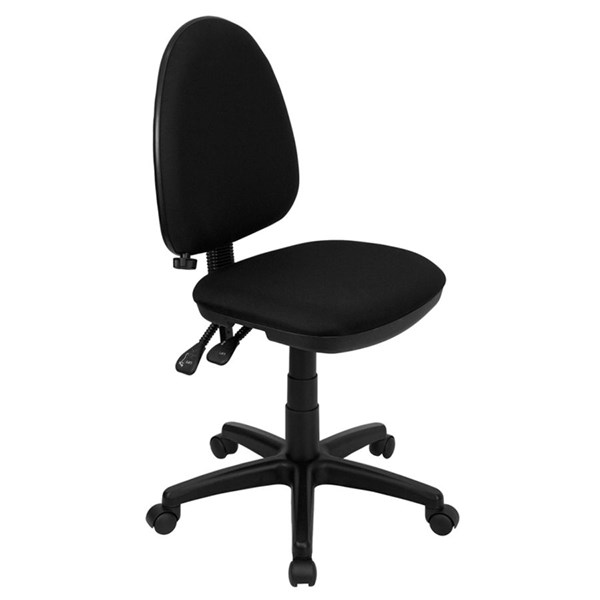 Black Mid-Back Multi-Functional Task Chair W/Adjustable Lumbar Support FLF-WL-A654MG-BK-GG