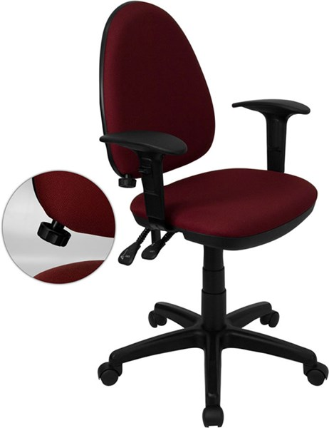 Flash Furniture Burgundy Black Multi-Functional Task Chairs FLF-WL-A654MG-BY-A-GG-VAR