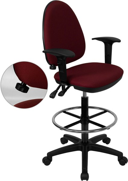 Flash Furniture Burgundy Adjustable Lumbar Support Drafting Stools FLF-WL-A654MG-BY-AD-GG-VAR