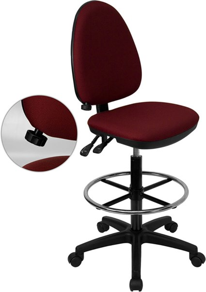 Burgundy Multi-Functional Drafting Stool W/Adjustable Lumbar Support FLF-WL-A654MG-BY-D-GG