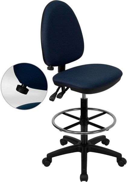 Navy Blue Multi-Functional Drafting Stool W/Adjustable Lumbar Support FLF-WL-A654MG-NVY-D-GG