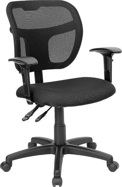 Flash Furniture Black Fabric Mid Back Mesh Task Chair with Arms FLF-WL-A7671SYG-BK-A-GG