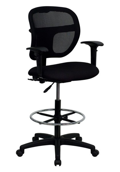 Flash Furniture Black Fabric Mid Back Mesh Drafting Stool with Arms FLF-WL-A7671SYG-BK-AD-GG