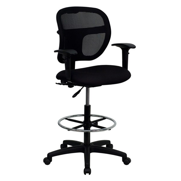 Flash Furniture Black Fabric Mid Back Mesh Drafting Stools FLF-WL-A7671SYG-BK-AD-GG-VAR