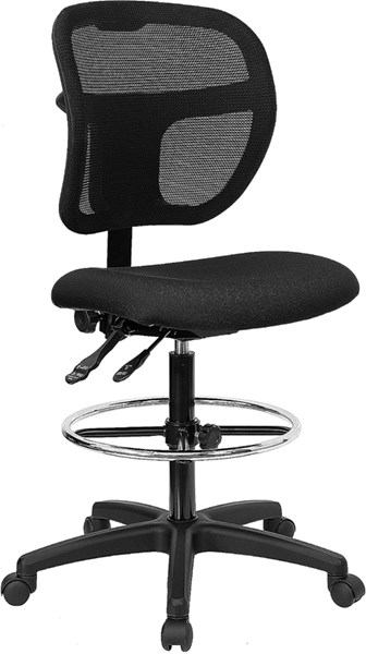 Flash Furniture Black Fabric Mid Back Mesh Drafting Stool FLF-WL-A7671SYG-BK-D-GG