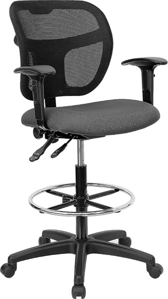 Flash Furniture Black Gray Fabric Mesh Drafting Stools FLF-WL-A7671SYG-GY-AD-GG-VAR
