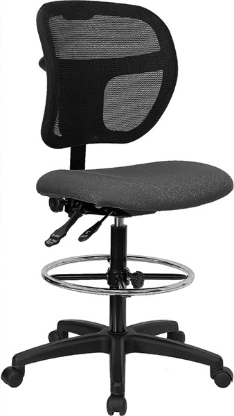 Flash Furniture Black Gray Fabric Mesh Drafting Stool FLF-WL-A7671SYG-GY-D-GG