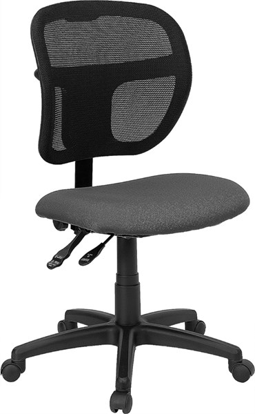 Flash Furniture Mid Back Mesh Task Chair with Gray Fabric Seat FLF-WL-A7671SYG-GY-GG