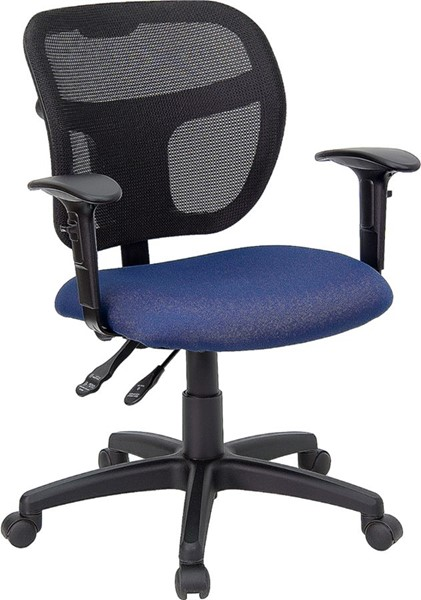 Flash Furniture Black Blue Fabric Mesh Mid Back Task Chair with Arms FLF-WL-A7671SYG-NVY-A-GG