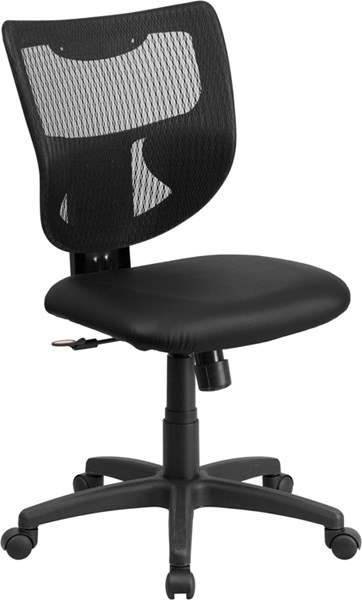Galaxy Contemporary Black Leather Metal Plastic Swivel Task Chair FLF-WL-F061SYG-LEA-GG
