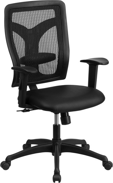 Galaxy Black Swivel Task Chair with Leather Padded Seat & Adjust Arms FLF-WL-F062SYG-LEA-A-GG