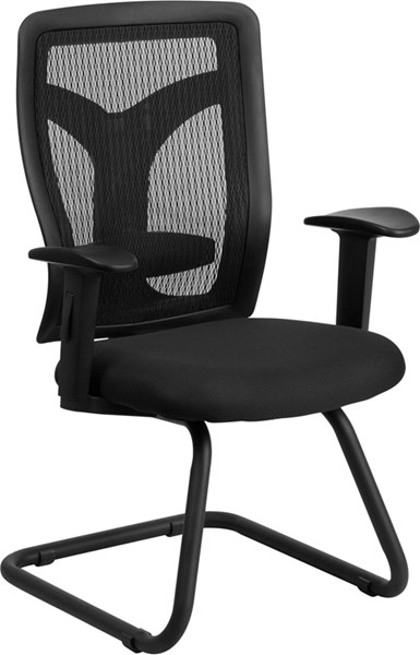 Galaxy Black Mesh Side Arm Chair with Mesh Seat & Lumbar Support FLF-WL-F065V-MF-A-GG