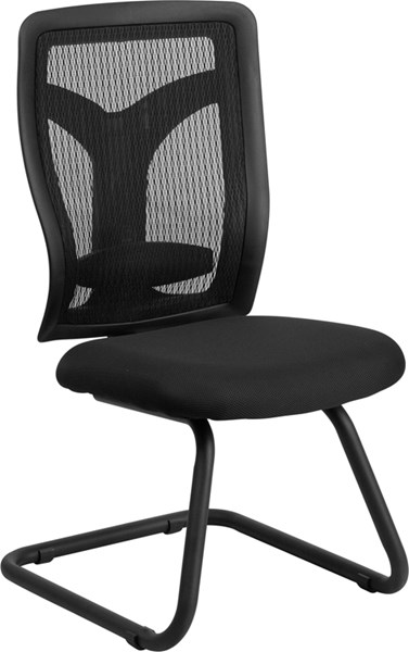 Galaxy Black Fabric Metal Plastic Side Chair W/Mesh Seat FLF-WL-F065V-MF-GG