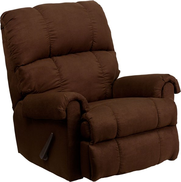 Contemporary Flatsuede Chocolate Microfiber Rocker Recliner FLF-WM-8700-112-GG