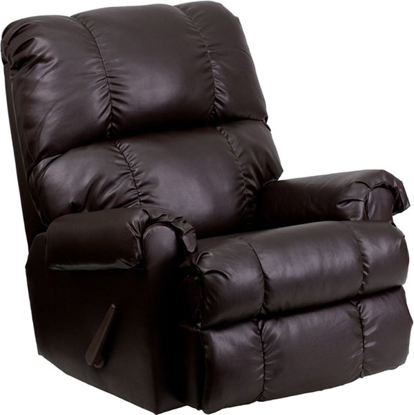 Contemporary Apache Brown Bonded Leather Rocker Recliner FLF-WM-8700-372-GG