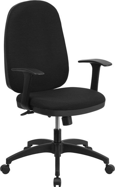 Contemporary Black Fabric Metal High Back Swivel Task Chair FLF-WR-609G-A-GG