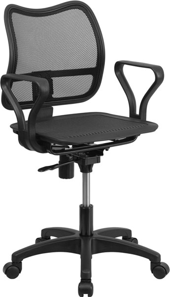 Mid-Back Black Mesh Swivel Task Chair with Loop Arms FLF-WR22-A-GG