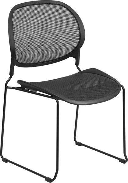 Contemporary Black Mesh Metal Stackable Side Chair w/Air Grid Back FLF-WR22BK-GG